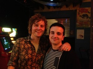 Kevin and Adam after the Bob Evans Familiar Stranger Tour show at Fowler's Live, North Tce., Adelaide (April 27, 2013).