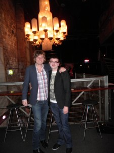 Kevin & Adam before the Basement Birds show at The Metro Theatre, George St., Sydney (August 20, 2010).