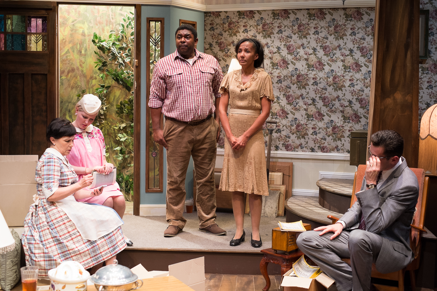 Wendy, Briallen Clarke, Cleave Williams, Paula Arundell and Nathan Lovejoy in Clybourne Park (Photo: Clare Hawley, used with permission of Ensemble Theatre)