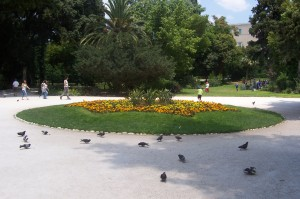 "National Gardens. The pigeons were less ""swoopy"" than what was to come in Venice."