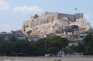 View of the Acropolis from Temple of Olympian Zeus.