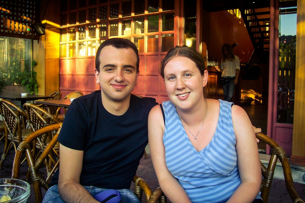 Claire and I at a restaurant (not from the classical period) after a day of sightseeing.