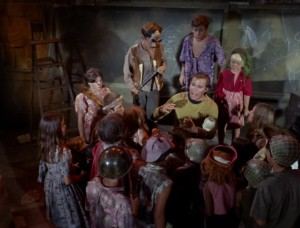 Kirk (William Shatner) appeals to the children's sensitivities.