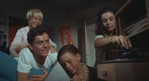 Millie Perkins puts an end to the Fergus children (Kellie, Michael Margotta, and Don Wyndham) listening to the new Max Frost.