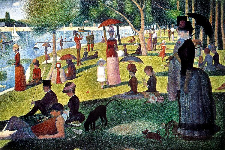 Un dimanche après-midi à l'Île de la Grande Jatte (A Sunday Afternoon on the Island of La Grande Jatte) by Georges Seurat (via Wikimedia Commons).