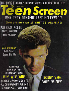 Shy guy on the March 1962 cover of Teen Screen (Photo: Bobby Vee official website).
