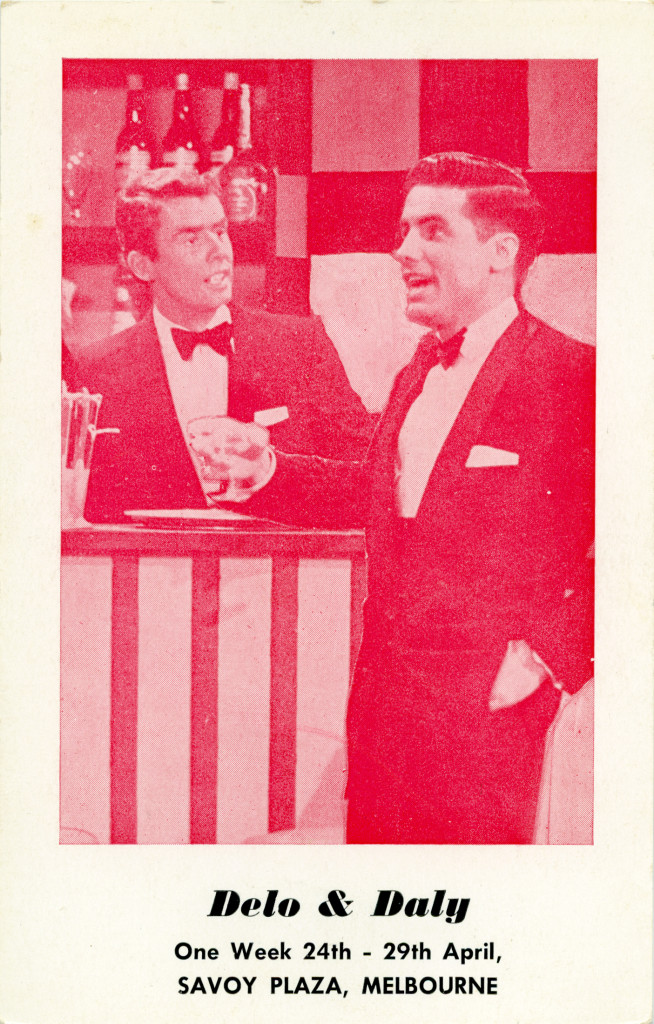 "Advance notice card for Ken and Jonathan at the Rainbow Room in the Savoy Plaza. Guests are advised to ""Book early with your host Albert Argenti"" (Adam Gerace private collection)."