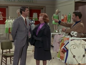 "Jonathan, Agnes Moorehead, and Steve Franken in the Bewitched episode ""Samantha's Shopping Spree""."