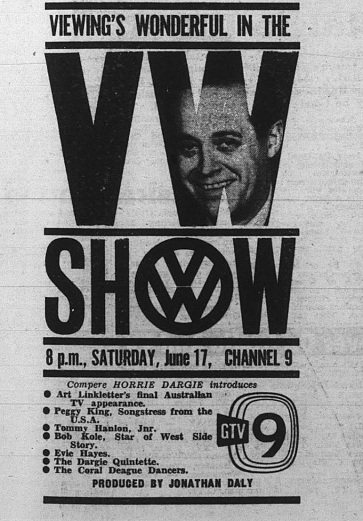 While in Australia, Art Linkletter compered the 18-hour National Heart Foundation telethon on GTV-9 on May 28, 1961. Jonathan and Art worked together on the telethon. He subsequently appeared on The BP Super Show on June 3, and The VW Show on June 17 (Photo: The Age, TV and Radio Guide supplement, June 15, 1961).