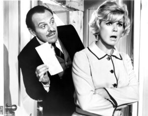 Terry-Thomas and Doris Day in Where Were You When the Lights Went Out? (via Wikimedia Commons).